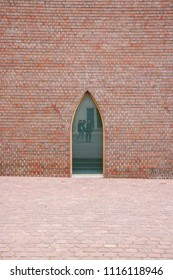 COLMAR, FRANCE - CIRCA MARCH 2018: Detail of the brick wall outside the new extension of the Unterlinden Museum in Colmar, designed by architects Herzog & de Meuron