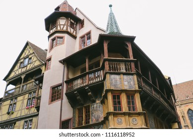 COLMAR, FRANCE - CIRCA MARCH 2018: Exterior of Maison Pfister, one of the traditional buildings in the old town of Colmar.