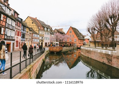 COLMAR, FRANCE - CIRCA MARCH 2018: Colorful traditional buildings in the old town of Colmar.