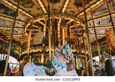 COLMAR, FRANCE - CIRCA MARCH 2018: Detail of a vintage merry-go-round in Paris, France