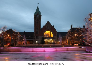 COLMAR, FRANCE - DECEMBER 01, 2018: Colmar train station decorated for Christmas in Alsace, France. Colmar is the third-largest commune of the Alsace region.
