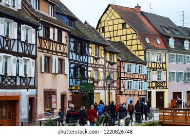 COLMAR, FRANCE - DECEMBER 2015: Beautiful view of medieval colorful houses of Colmar one one the most romantic city of the Alsace, France