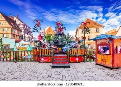 Colmar, France - December 2017. Colmar Christmas market for kids, Petite Venise in Alsace.