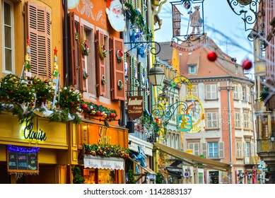 Colmar, France - December 2017 View of the most characteristic and particular city of Southern France with its houses that recall distant times