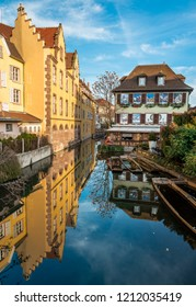 Colmar / France - December 25 2017: Christmas decoration in the canals of Little Venice, in Colmar, Alsace.
