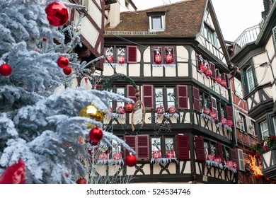 COLMAR, FRANCE - DECEMBER 29 2015: Christmas decoration with  in medieval city of Colmar Christmas market