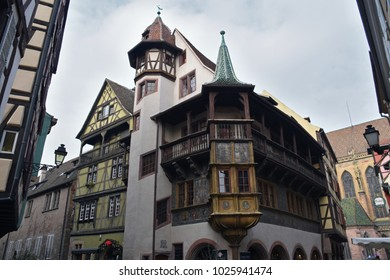 Colmar, France - February 8, 2018: Maison Pfister in the old town of Colmar