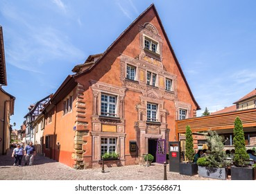 Colmar, France - July 09, 2019. Beautiful restaurant on one of the streets of Colmar. France, Alsace