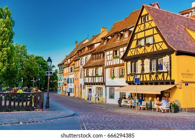 COLMAR, FRANCE - JUNE 14, 2017 -  amazing beautiful places of France - colorful Colmar town in Alsace region