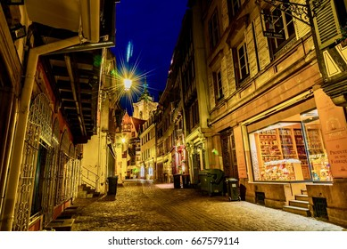 COLMAR, FRANCE - JUNE 14, 2017 -   View of the city of Colmar in the French Alsace region at night