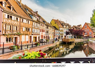 COLMAR, FRANCE - JUNE 14, 2017 - Beautiful view of the French city  with colorful houses in the neighborhood of the small Venice