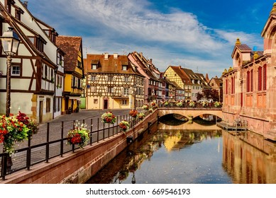 COLMAR, FRANCE - JUNE 14, 2017 -  beautiful places of France - colorful Colmar town in Alsace region