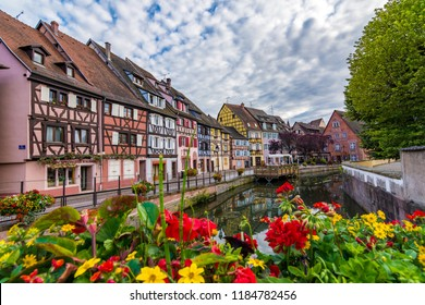 Colmar, France - June 16 2018: Old town in Colmar, Alsace Region.