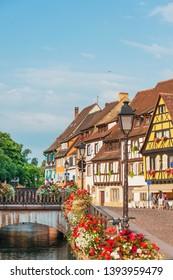 COLMAR, FRANCE - June 29, 2018:  Paris famous sightseeing spot Little Venice Colmar, Alsace, France