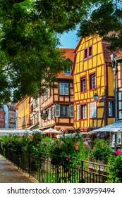 COLMAR, FRANCE - June 29, 2018: Antique building view in Old Town Colmar, Alsace, France