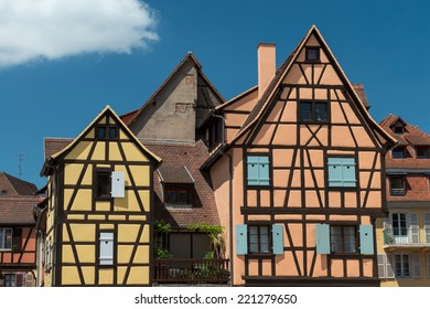 COLMAR, FRANCE - JUNE 4, 2013: Half-timbered houses in French town Colmar on June 4, 2013