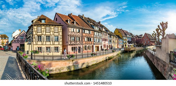 Colmar, France - June 4, 2019:  Little Venice in Colmar with beautiful half timbered houses.