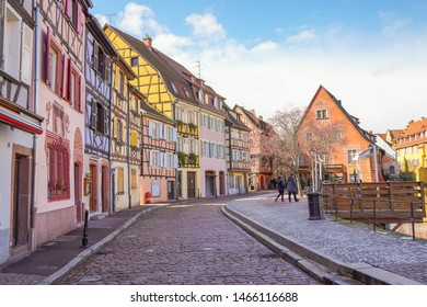 Colmar, France - March 2019 : Beautiful view of colorful buildings along the canal, also know as Little Venice or Petite Venise in Colmar, Alsace, France. The most popular destinations in france.