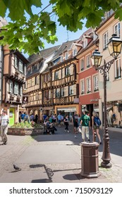 COLMAR, FRANCE, MAY 26, 2012 - People visit the old city of Colmar with it´s half-timbered houses