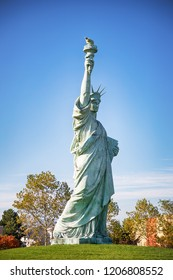 Colmar, France. October 14, 2018. Copy of Statue of Liberty, designed by Frederic Auguste Bartholdi