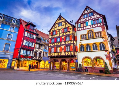 Colmar, France. Traditional Alsatian half-timbered houses Christmas decorated city in Alsace.