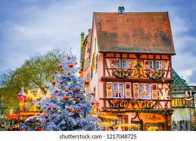 Colmar, France. Traditional Alsatian half-timbered houses Christmas  decorated city Colmar in Alsace.