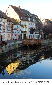 Colmar, France-October, 24th, 2017: Amazing colorful traditional frence houses on the side of river Lauch in Petite Venise, colmar