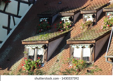 Colmar, France-October, 24th, 2017: closeup. colorful roof of the traditional frence house in Petite Venise, colmar