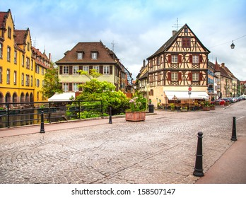Colmar, Petit Venice, canal bridge and traditional half timbered colorful houses. Alsace, France.