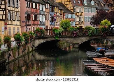 Colmar town street scene in Alsace, France