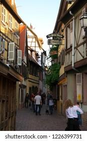 Colmar,France-October 13, 2018: Poissonnerie Street along Lauch river near La Petite Venise in Colmar, France