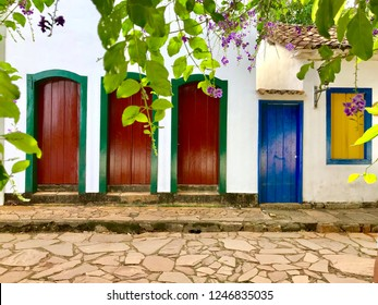 Coloful doors from colonial houses in the town of Tiradentes, Minas Gerais, Brazil