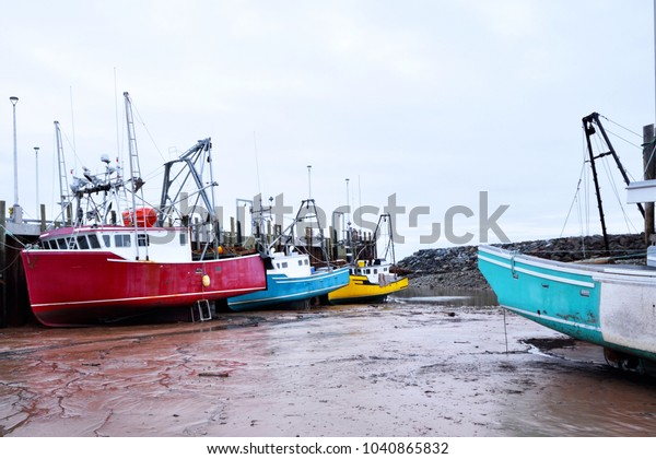 Coloful Fishing Boats Low Tide Alma Stock Photo (Edit Now