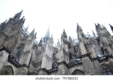 Cologne Cathedral in fog. Roman Catholic Gothic cathedral in Cologne, Germany. It is a renowned monument of German Catholicism and Gothic architecture and was declared a World Heritage Site in 1996.
