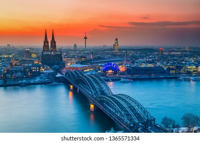 Cologne Cathedral and Hohenzollern Bridge at night, Germany