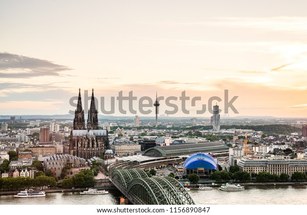 Cologne Cathedral with white sky in the background, skyline of Cologne, Germany