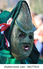 COLOGNE - CIRCA FEB 2008 : Participant parades as cabbage man at the traditional carnival parade circa February 2008 in Cologne, Germany.
