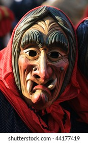 COLOGNE - CIRCA FEB 2008 : Participant parades as a witch at the traditional carnival parade circa February 2008 in Cologne, Germany.