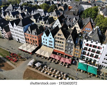 Cologne city, Germany. Colorful aerial view of Innenstadt part of Altstadt district, Cologne city.