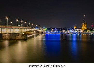 Cologne, the Deutzer bridge over the Rhine. A panorama with the fish market and the Great St. Matrinskirche in the background.
