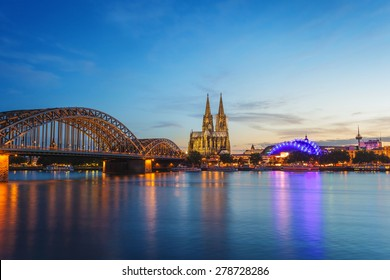 Cologne Dom and city skyline at night, Cologne, Germany