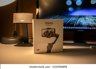 Cologne, Germany - 15th October 2019: Unboxing the brand new DJI Osmo Mobile 3 Gimbal for cell phones, the first foldable gimbal for phones.