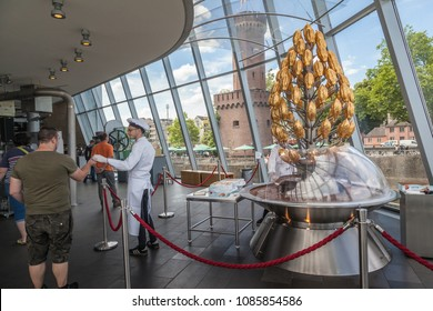COLOGNE, GERMANY- 18 JUNE 2017 Chocolate fountain at Schokoladen museum, famous chocoate museum by Lindt.