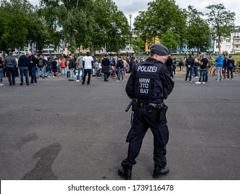 Cologne, Germany, 23 May 2020. Police guarding public demonstration against Corona virus restrictions.