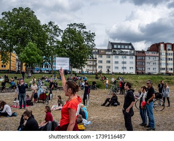 Cologne, Germany, 23 May 2020. People taking part in public demonstration against Corona virus restrictions.