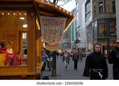 Cologne, Germany 28 February 2019: Carnival celebrates makes you hungry. At every corner there are snack bars and food trucks.