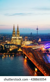 Cologne, Germany aerial overview after sunset