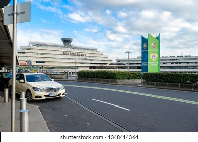 COLOGNE, GERMANY - APRIL 17,2018:  Taxi cars parked waiting to service tourists at Cologne Bonn Airport. Mercedes-Benz E Class is a popular car that is used to make Taxi in Germany.