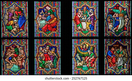 COLOGNE, GERMANY - APRIL 21, 2010: Stained Glass window depicting scenes in the Life of Moses in the Dom of Cologne, Germany.