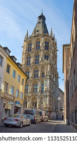 COLOGNE, GERMANY - APRIL 29, 2016: Medieval Town Hall (Rathaus) seen from Burgerstrasse street